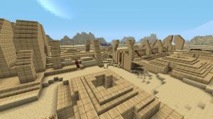 Sandtrap 01 - Odd ruins lie half-buried in alien sand.